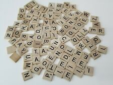 100 Pcs Scrabble Game Tiles Wooden Blocks, Letters, Replacement Parts, Crafts