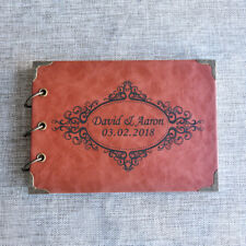 Custom Wedding Journal Ring Binder Guest Book Rustic Leather Guestbook Red Brown