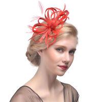 Women's Feathers Fascinators Flower Hair Clips Veil Wedding Hairband Accessories