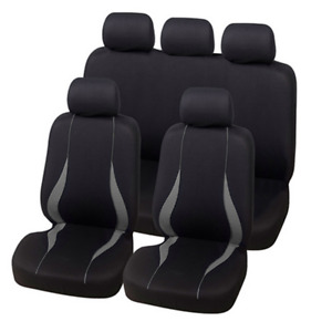 9pc Universal Full Car Seat Covers Set Protectors Gray Polyester Fabric Washable