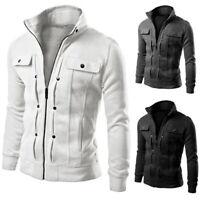 FP- Autumn Winter Men Trendy Stand Collar Zip Up Slim Long Sleeve Jacket Coat Ch