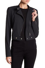 Lafayette 148 New York Lisette Wool Blend Cropped Moto Jacket Black 14 NWT $538
