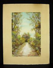 Paysage impressionniste signé ? sous-bois dessin original c1900 impressionnisme