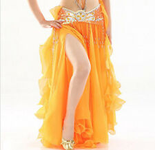 NEW High Quality Performance Belly Dance Costume 2 layer slit Ruffle Skirt Dress