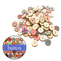 100pcs Wood Buttons 2 Holes Round Sewing Button DIY Scrapbooking Craft Accessory