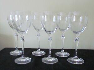 "6 MIKASA CRYSTAL SPRING PETALS OPTIC WINE GLASSES 8 3/8"" EXC"