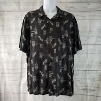 Island Shores Mens Hawaiian Shirt Sz XL Black Gray Palm Trees Short Sleeve
