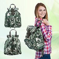 Camouflage RUCKSACK im Army Style mit Lederriemen Sportlich&Funktionell Outdoor
