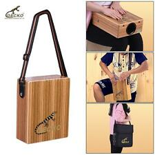 Traveling Cajon Box Drum Hand Drum Zebra Wood with Strap Carrying Bag S3K0