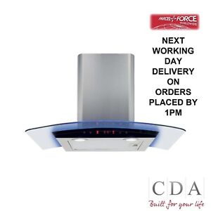 CDA EKP70SS 70cm Curved Glass LED Edged Lighting Cooker Hood In Stainless Steel