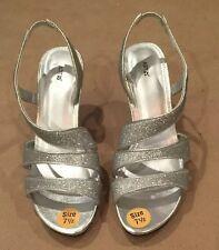 Apt. 9 Women's SZ 7.5 Beautiful Crystal Silver Glitter Prom/Formal Strap Shoes
