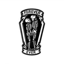 Black Coffin Skeleton Forever Love Metal Pin ~ Punk Couple Gothic Brooch Fashion