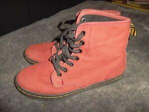 Size 6 - Dr. Doc Martens Shoreditch Women's Burgundy Canvas Boots