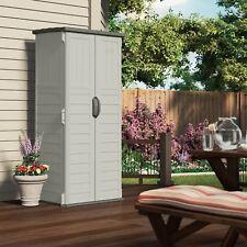 Outdoor Tool Shed Storage Cabinet Plastic Patio Garden Pool 22 Cu Ft 2 Door Gray