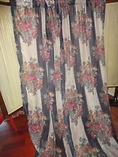 JC PENNEY TUSCAN BLUE FLORAL (PAIR) PANELS SEMI SHEER CAMEL MULBERRY 40 X 84