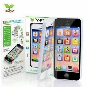 Toy Phone Kids Christmas Educational English Learning Mobile Black/White