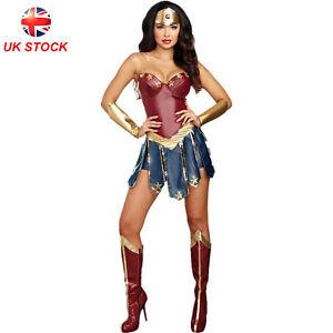 Women Cosplay Wonder Costumes Christmas Halloween Fancy Tube Chest Mini Dresses