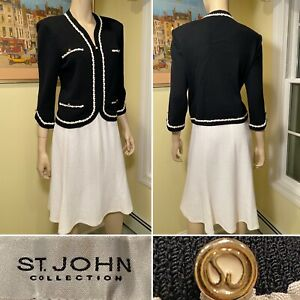 ST JOHN Size 10/Medium Black & White Boucle Santana Stretch Wool Knit SKIRT SUIT