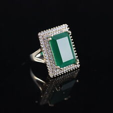 925 Sterling Silver Handmade Authentic Turkish Emerald Ladies Ring Size 6-10