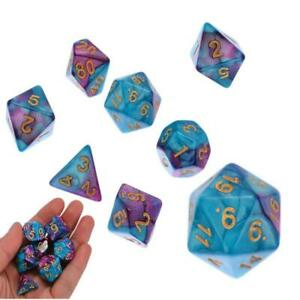7x Acrylic Dice Polyhedral for TRPG DND RPG MTG Playing Game D4-D20 Multi Side