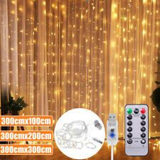 100/200/300LED Curtain Fairy Light USB String Hanging Light Wedding Party Remote