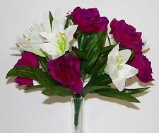 Bouquet Rose-Lys x 12 Fleurs Artificielles intérieur/extérieur