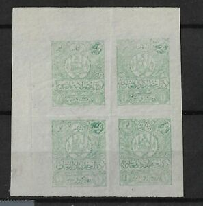 AFGHANISTAN 1907 BLOCK OF 4 1R COAT OF ARMS GREEN UNUSED  IMPERFORATED SC# 199 V