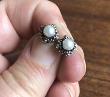 Vintage Antique Mexican Sterling Silver Pearl Stud Earrings 925