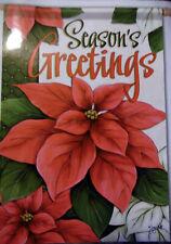 "Large Carson ""Seasons Greetings"" Poinsettia Christmas Porch Flag (28"" x 40"")"