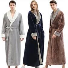 Men Women Luxury Long Bath Robe Dressing Gown Hoodie Winter Warm Fleece Bathrobe