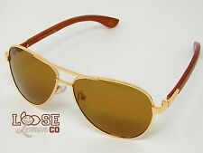 Chili's Eye Gear 'Tamarack' M21718 A Polarized Wooden Aviator Sunglasses