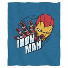 "Marvel Civil War ""Team Iron Man"" Sweatshirt Throw Blanket Gifts 50"" x 60"" New"