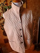 Blue Willi's Beige Cotton Quilted Vest with Pockets and Snaps,  M