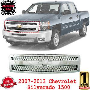 Front Grille Chrome Shell Plastic For 2007-2013 Chevrolet Silverado 1500