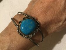 Vtg Old Pawn Native American Sterling Silver Turquoise Cuff Bracelet