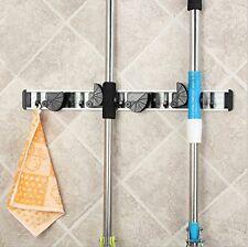 Aluminum Wall Mounted Non Slide Broom Mop Holder Kitchen Storage Bathroom Hanger