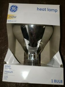 GE 250W Clear Heat Lamp Bulb BR40 Medium Base