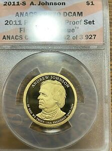 2011-S Andrew Johnson Presidential Dollar ANACS PR70DCAM Best Price on Ebay CHN