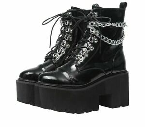 Leather Gothic Black Boots Women's Heels Sexy Chains Chunky Platform Punk Styles