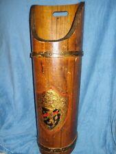 Unique Vintage Wood Umbrella Stand - Cane Holder - Gathering Barrel Metal Shield