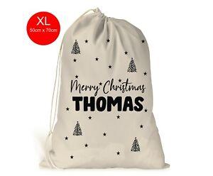 Personalised Boys Men's XL Christmas Sack Stocking Xmas Gift Bag Modern Font