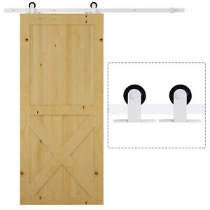 HOMCOM 6 FT Modern Antique Style Sliding Barn Wood Door Hardware Kit Closet Set