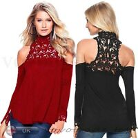 UK Women Ladies Long Sleeve Casual Blouse Tops Sexy Lace Strapless T-Shirt Loose