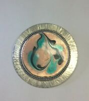 "Vintage Sterling Silver & Hand painted Enamel Brooch Pin Sz 1.75"" G1"