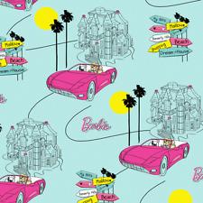Barbie Cars Dream House Driving Kids Girls Blue Cotton Fabric Print BTY D782.09