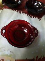 "Anchor Hocking Coronation Royal Ruby Red Berry Dessert Fruit Bowl 4 1/2"""