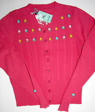 King Louie Cardigan manica lunga Cardigan Roundneck Asteria Teaberry Size: S NUOVO