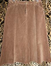 313104dc8d EDDIE BAUER Brown Corduroy Long Jean Skirt 10P STretch Cotton Pockets A-Line