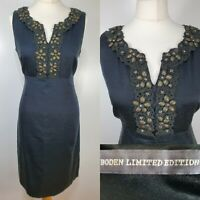 Boden Limited Edition Black Floral Embellished Beaded Fitted Shift Dress Size 12