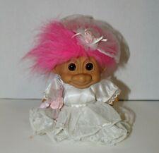 Russ Troll Doll 7� Pink Hair Brown Eyes Dress Spring Bride W/ Veil Garter damage